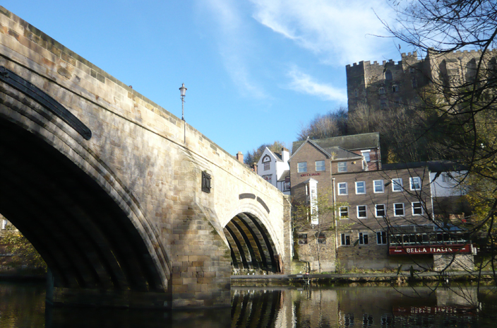Framwellgate Bridge, with Durham Castle looming over it.
