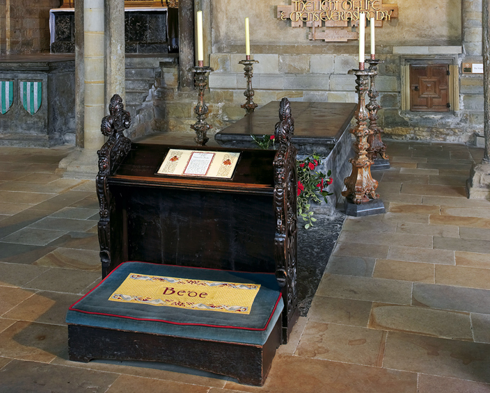 Bede's tomb in Durham Cathedral.