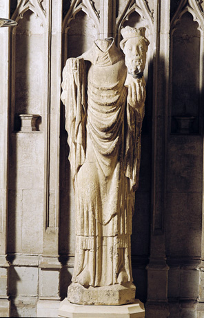This statue of St Cuthbert missing its head, is an indication of the impact of the religious zealots of the reformation, who abhored the veneration of saints.