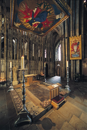 The shrine of St Cuthbert today. Until the reformation in the mid-sixteenth century, the coffin of St Cuthbert would have been placed quite high off the ground.