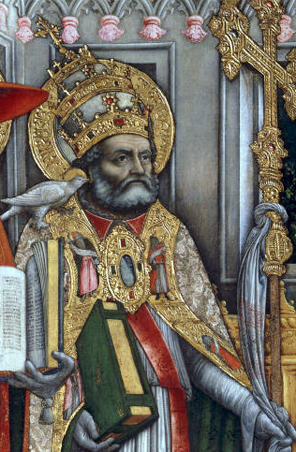 Detail of a fifteenth century painting of Gregory I, the pope who sent St Augustine to England to spread Christianity.