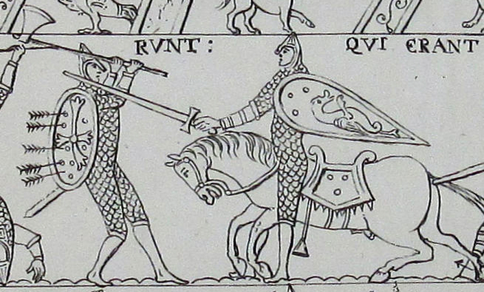 Drawing of a scene from the Bayeux Tapestry, (produced in the 11th century depicting the Battle of Hastings). This scene shows a Norman knight (on the right) fighting with an English housecarl (on the left). The housecarl is holding a Danish axe.