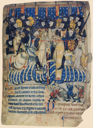 The Battle of Hastings, from a thirteenth century manuscript. The Norman army is on the right, and William can be seen slaying Harold.