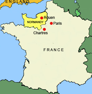Map of France showing Normandy, the region given to Rollo by Charles the Simple.