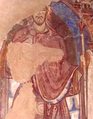 A twelfth-century wall-painting in the Galilee Chapel at Durham Cathedral depicting St Oswald.