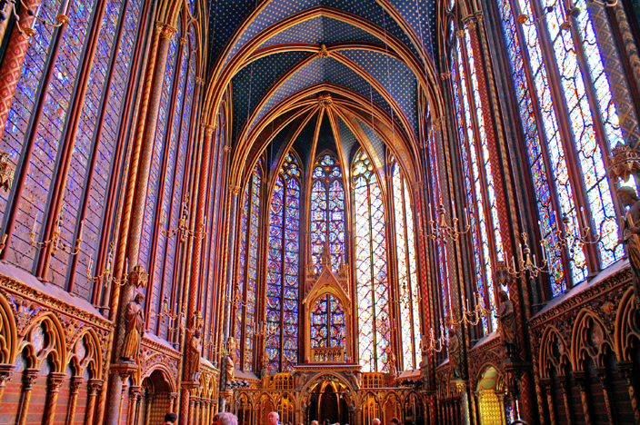 Interior view of the upper chapel of the Sainte Chapel in Paris, constructed in 1248, and a perfect example of how architectural technology had overcome the technical challenges of creating light, airy buildings by the this period.