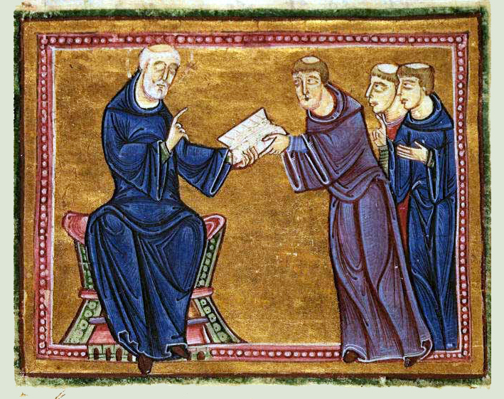 St Benedict, the founder of the Benedictine Order, delivering his rule to three monks.