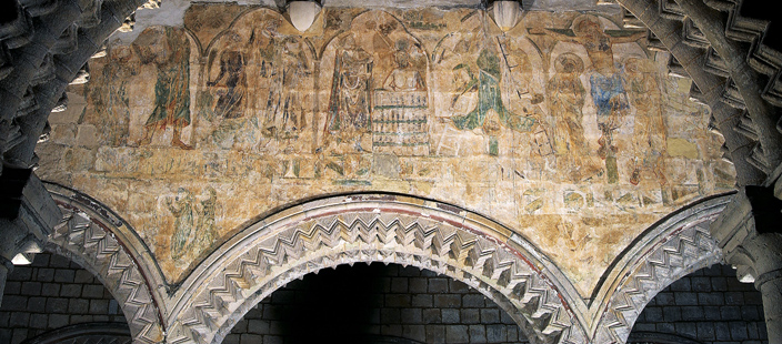 The wall paintings in the Galilee Chapel give some indication as to what Durham Cathedral would have looked to prior to the 16th century, when the building was whitewashed. Telling religious stories through images was important, as many people would have been illiterate. This scene probably dates from the 13th or 14th century and depicts the apostles as martyrs, dying for their faith.