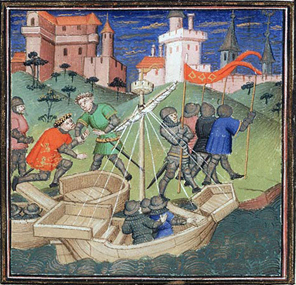 William the Conqueror arriving in England, from a fifteenth century French manuscript.