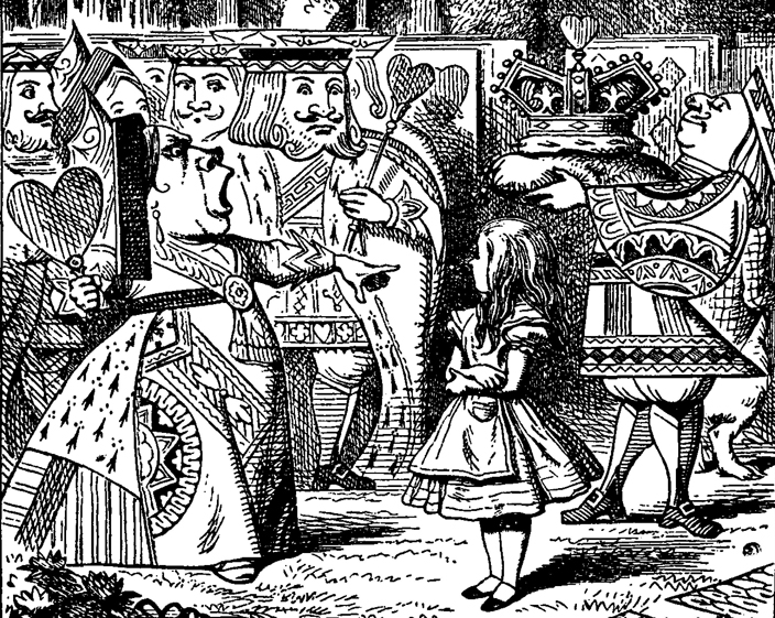 Alice and the Queen of Hearts, drawn by John Tenniel in 1869.