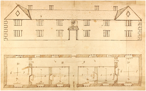 A 17th century sketch plan and elevation of the Almshouses by John Lanstafe, the man who designed them. The original is in Palace Green Library (Mickleton and Spearman MS 91 f.2).
