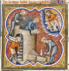 "Building in medieval times was as complex a process as it is today, involving an ""assembly line"" of craftsmen.  This image from a fourteenth century French manuscript, (Folio 19 of Giuard des Moulin's Grande Bible Historial) illustrates that well."