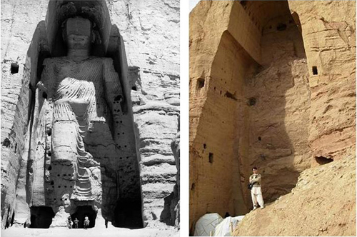 An image of one of the Buddhas of Bamiyan in Afghanistan, before and after the wilful destruction by the Taliban in 2001
