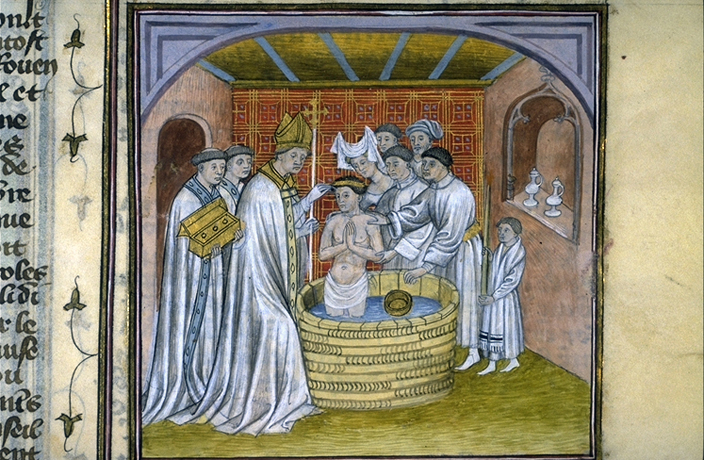 The Baptism of Rollo, from a fourteenth century French Manuscript in the Toulouse Library.