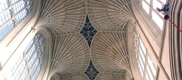 The choir at the Church of St Peter and St Paul, Bath, dating from the early sixteenth century, with its magnificent fan vaulting, a British architectural tradition. Note how light the structure is - there are hardly any walls, allowing for plenty of light inside the building.
