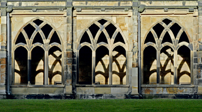 The cloisters, the place where monks would have studied, originally had glazed windows, some of which had stained glass.
