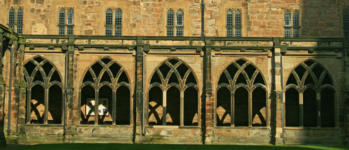View of the cloister. They would have originally had windows, some of which, would have had stained glass.