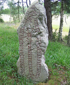 A Runestone in Sweden erected by a Viking in commemoration of the taking of one Dangeld from England.