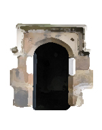 Image showing white rectangles painted on the stone surround of a door