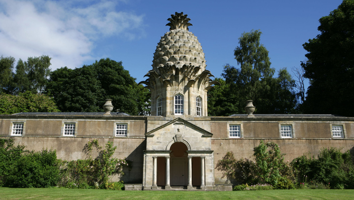 The Dunmore Pineapple,Scotland, a summerhouse built for the fourth Earl of Dunmore in 1754 indicates just how exotic a fruit the pineapple was. The building, now owned by the National Trust of Scotland and managed by the Landmark Trust, is rented out as a holiday cottage.