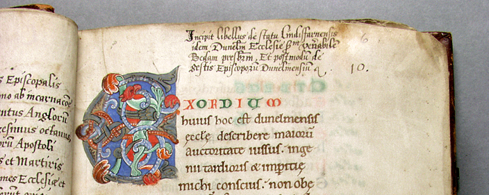 Detail of a manuscript written in Durham between 1104 and 1115, about Durham. This is Symeon of Durham's   Tract on the Origins and Progress of this the Church of Durham. It is now in the collection of Durham University Library.