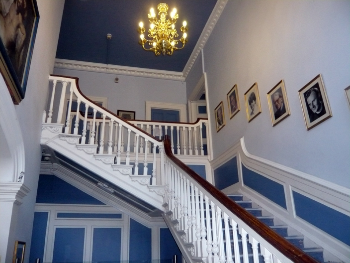 The grand staircase of the Eden family house, an exceptionally fine example of carved woodwork.