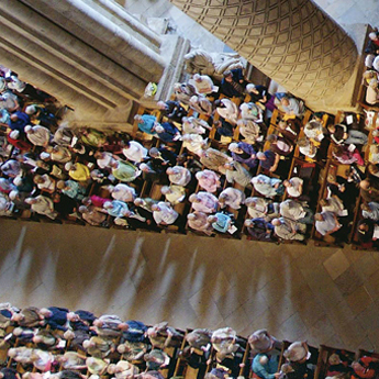 Bird's eye view of a Cathedral service.