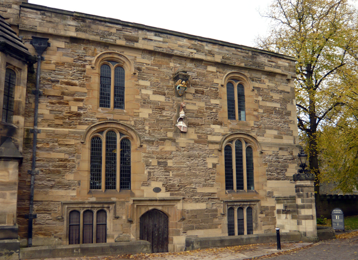 The fifteenth-century exchequer building. The windows were modified in the seventeenth century by Bishop John Cosin.