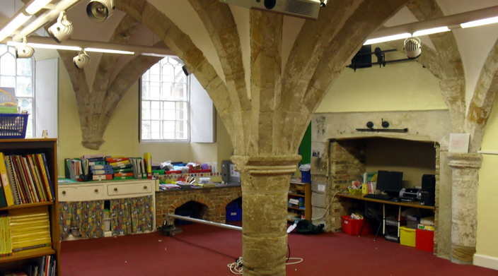 Remains of the Cathedral Priory's Guest Hall - today a nursery classroom of Durham's Chorister School.