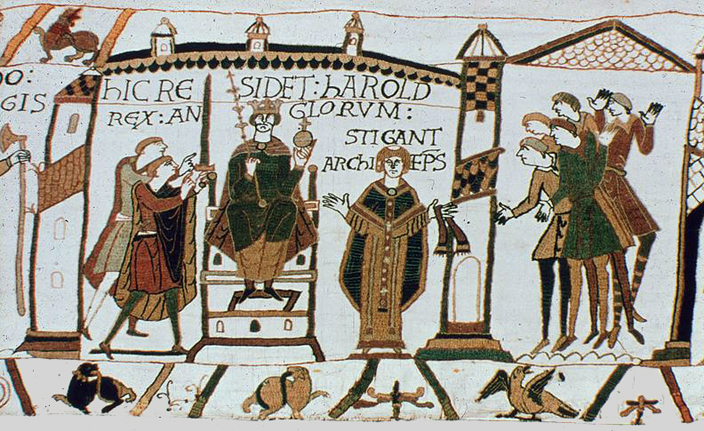 Harold as king of England, as depicted in the Bayeux Tapestry.