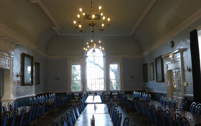 The dining room at Hatfield College, formerly the Red Lion Coaching Inn.