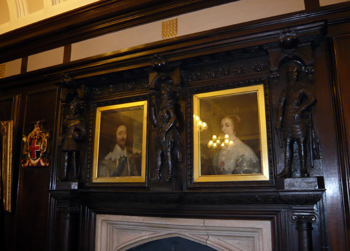 The mid-seventeenth century fireplace now in the Mayor's Chamber of Durham Town Hall is thought to have come from what is now the dining room of Hatfield College. The two portraits are of Charles I and his queen, Henrietta Maria.