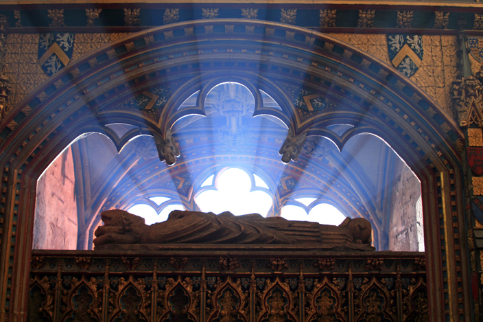 The tomb of Bishop Hatfield lies under the throne built by him in the Cathedral.