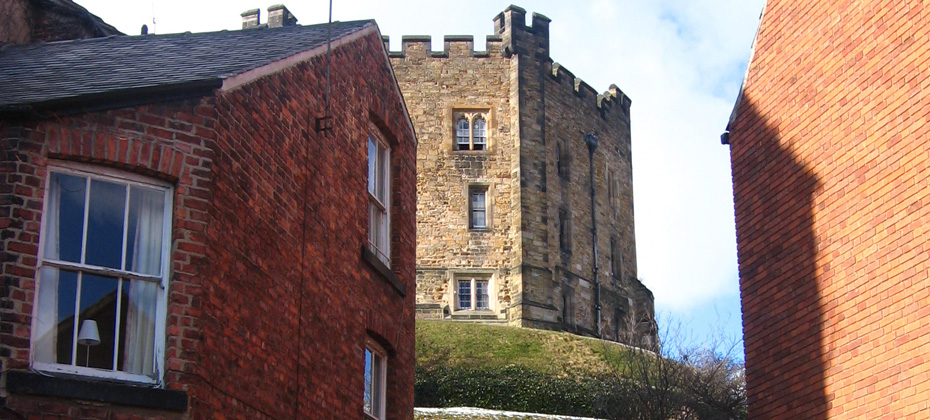 Durham Castle Keep, and later buildings on Owengate.
