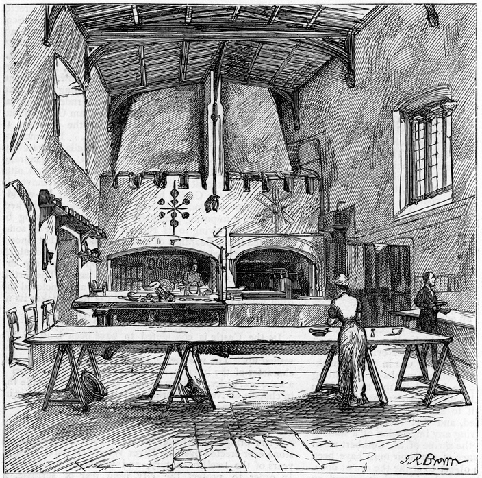 The Castle kitchen, as it looked in the 19th century, before the introduction of the modern equipment. The kitchen tables, one of which has a table-top probably dating to the 14th or 15th century, were removed due to Health and Safety legislation. Fortunately they still survive in the Castle. (The heavier one was carried by the college rugby team all the way up to the Castle's uppermost level. It can now be seen in the Norman Gallery.)