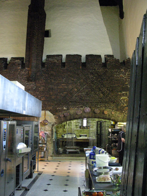 The kitchen: a fifteenth century structure with twenty-first century equipment.