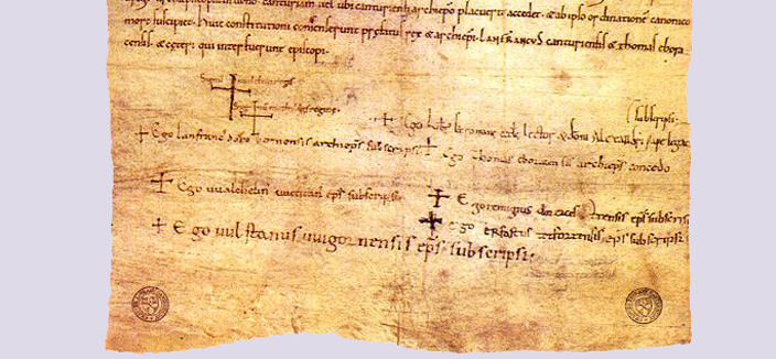 An image of the Accord of Winchester, dating from 1072, which made the Archbishop of Canterbury the most important religious figure in England. Beside each of the crosses is a signature. The top two are those of William the Conqueror and his wife Matilda. The third signature is that of Lanfranc.