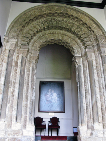 This doorway, today an internal doorway leading to a vestibule, would have originally been one of the Castle's two main entrances, and would have led into a large hall. Its good state of preservation suggests that it was always roofed. Otherwise the strong Durham wind would have caused severe stone erosion, as can be observed in areas of the Castle that have always been exposed.