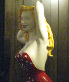 The statue of Marilyn Monroe in the Undercroft Bar: the ultimate prize.