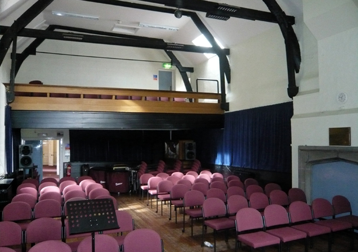 The interior of the school constructed by John Cosin in the seventeenth century, and now the performance hall of Durham University's music department.