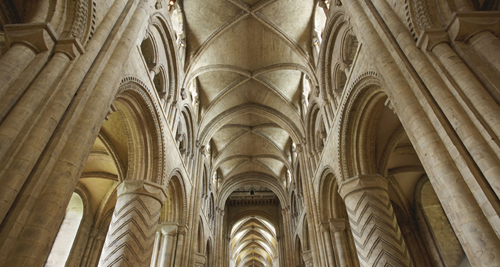 The stone vault of the nave of Durham Cathedral: an architectural milestone.
