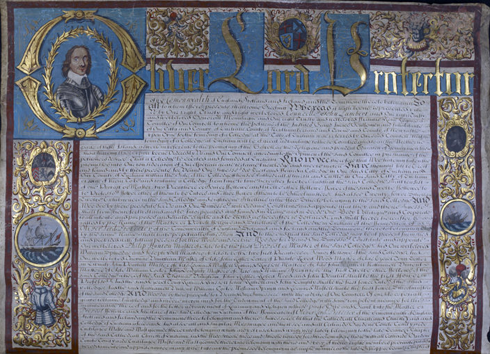 Detail of the document drawn up by Oliver Cromwell in 1657 to formally establish an institution of higher learning in Durham.
