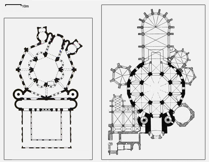 Plans of the church of St Vitale in Ravenna, dating from the 6th century, (left) and Charlemagne's palace at Aachen, constructed in the early 9th century, (right). The similarities between the architecture (not just the decoration) of the two buildings shows that the design of the later building consciously looked to the earlier building as a source of inspiration.