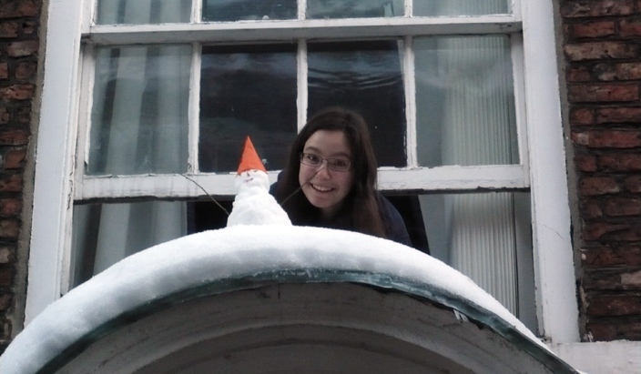 St Chad's College is sometimes described by its members as small but perfectly formed - perhaps like this snowman made by a St Chad's student out of the snow on the top of her porch on North Bailey!