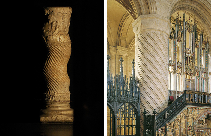 Left: One of the 'Solomonic' Columns reused in the Old St Peters Basilica, the Catholic mother church, and therefore a source of inspiration for religious buildings, especially shrines, throughout the Christian world. Right: One of the columns in the area before the shrine of St Cuthbert in Durham Cathedral, almost certainly inspired by the column to the left.