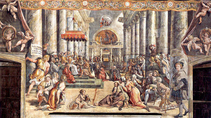 Sixteenth century painting of St Peter's Basilica, before its reconstruction. Old St Peter's, as it is now called, was constructed by the emperor Constantine in the 4th century. Around the shrine of St Peter were four antique spiral columns, allegedly brought from the temple of Solomon, and therefore an important element of the building. This Basilica inspired the construction of Durham Cathedral as well as additions by later Durham Bishops.