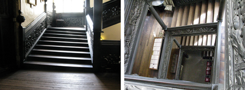 Two views of the Castle's 17th century Black Staircase, the one to the left showing the way it leans, and the one to the right showing the wooden posts that were put in to stablise what would have been a feat of engineering in its day.