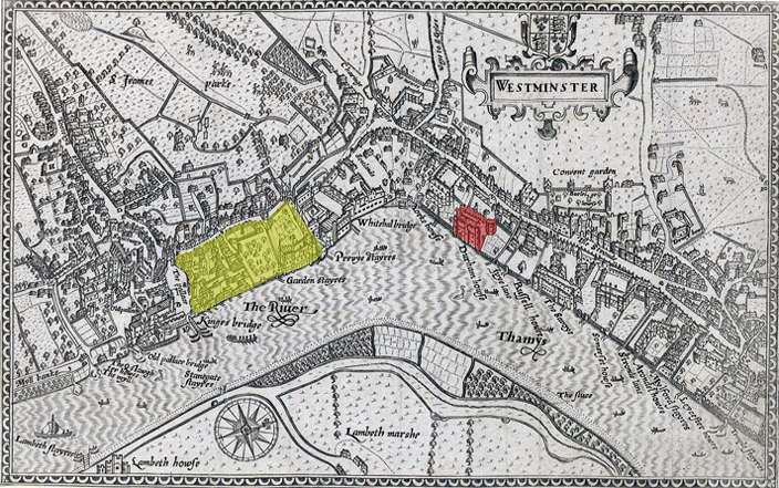 A sixteenth-century map showing the area of Westminster in London, where Hatfield built his townhouse (indicated in red). The king's main residence, Westminster Palace, would have been located in the area shaded yellow. (The map was produced by Norden in 1593).