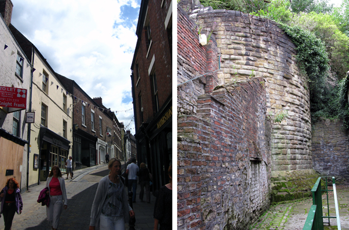 These two images show what remains of the Great North Gate today: not much. Left: except for a bend in the street and a sharp rise in street level, there is little to indicate that the North Gate stood here (although the basement of what is now Varsity Pub, still retains some of the old stonework). Right: the only major surviving element of the gate is one bastion in a back alley of one of the houses off Saddler Street. It indicates the scale of the destroyed structure.