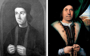 Two sixteenth-century paintings, each of which originally showed a man holding a rosary. The one to the left is of Cuthbert Tunstall - and his rosary was painted out after the Reformation. The man in the portrait on the right, by Lorenzo Lotto, still retains his rosary, and gives an indication of what Tunstall's portrait would have been like before anti-Catholic zeal led to its modification.